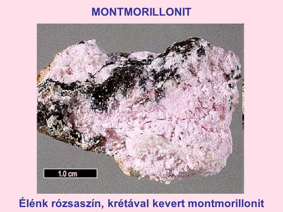 Élénk rózsaszín, krétával kevert montmorillonit