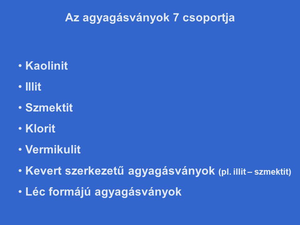 Az agyagásványok 7 csoportja