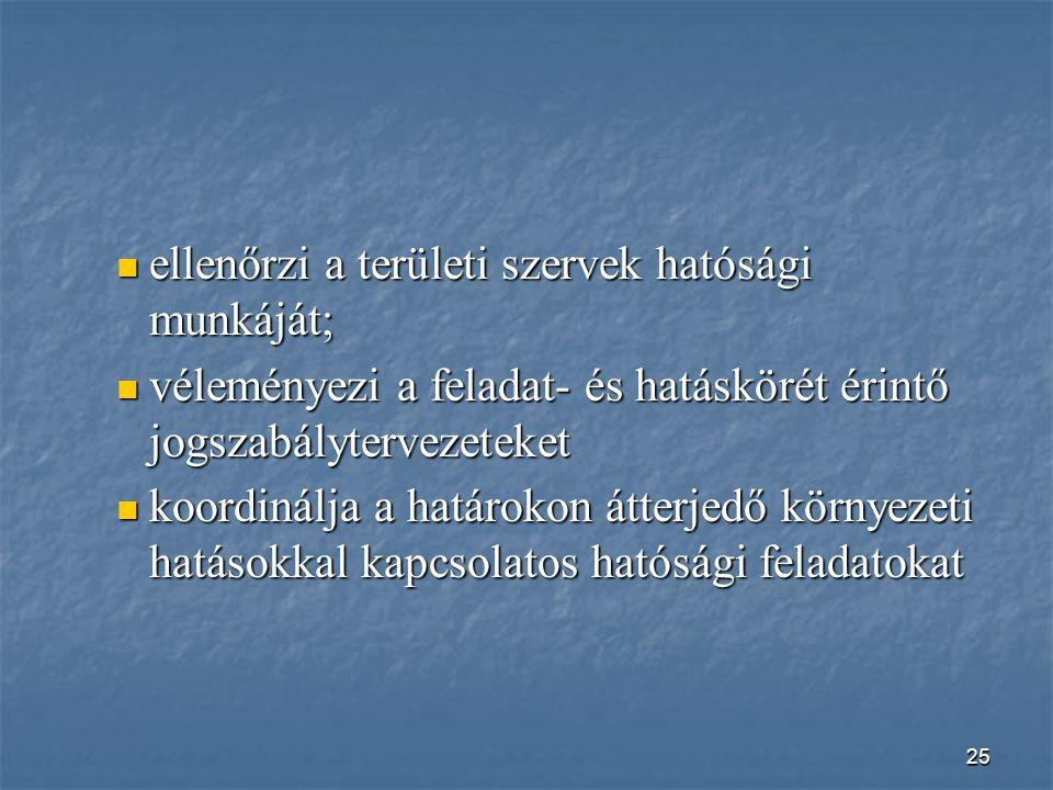 ellenőrzi a területi szervek hatósági munkáját;