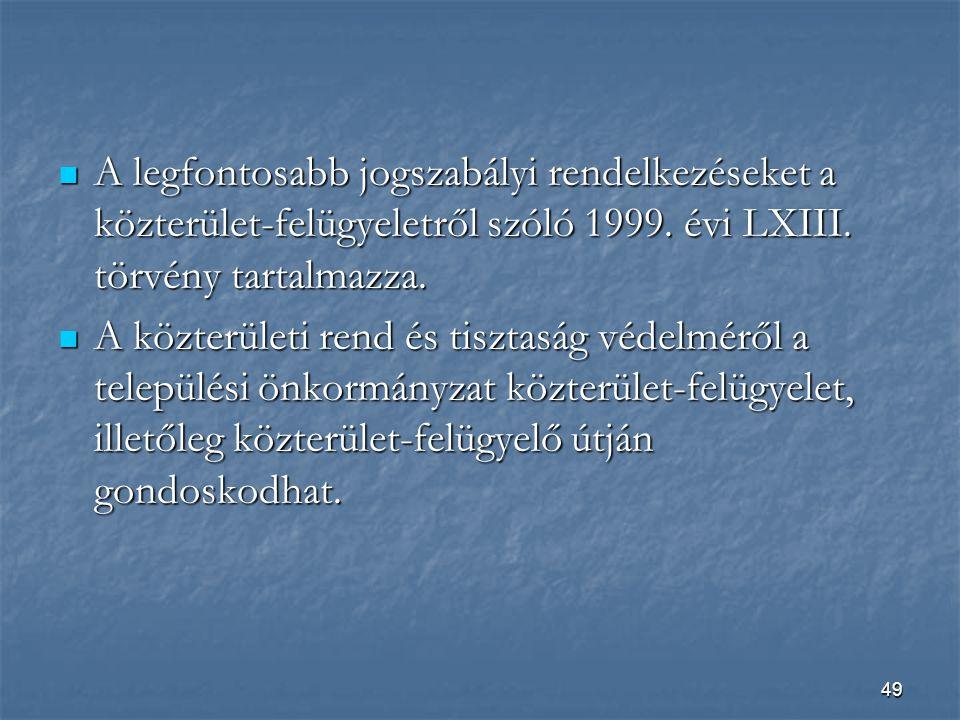 A legfontosabb jogszabályi rendelkezéseket a közterület-felügyeletről szóló 1999. évi LXIII. törvény tartalmazza.