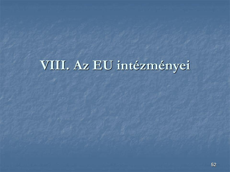 VIII. Az EU intézményei
