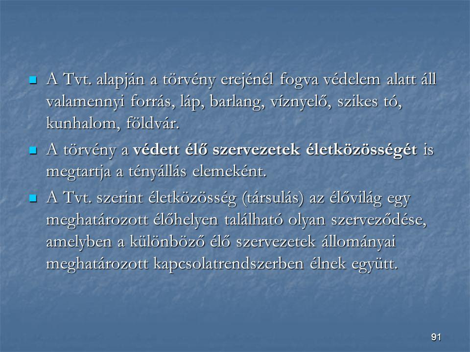 A Tvt. alapján a törvény erejénél fogva védelem alatt áll valamennyi forrás, láp, barlang, víznyelő, szikes tó, kunhalom, földvár.