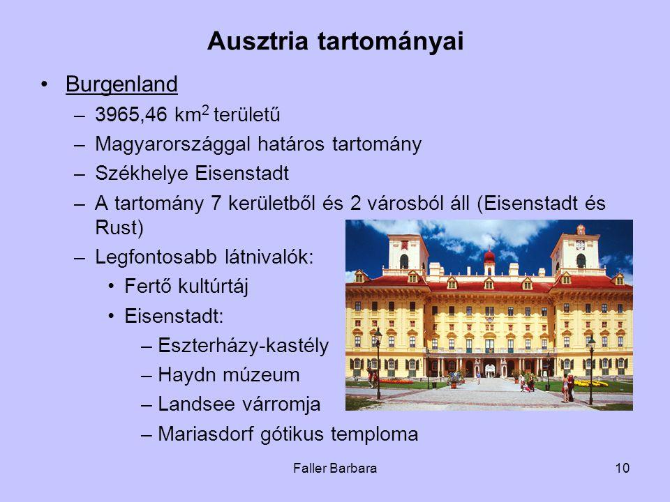 Ausztria tartományai Burgenland 3965,46 km2 területű