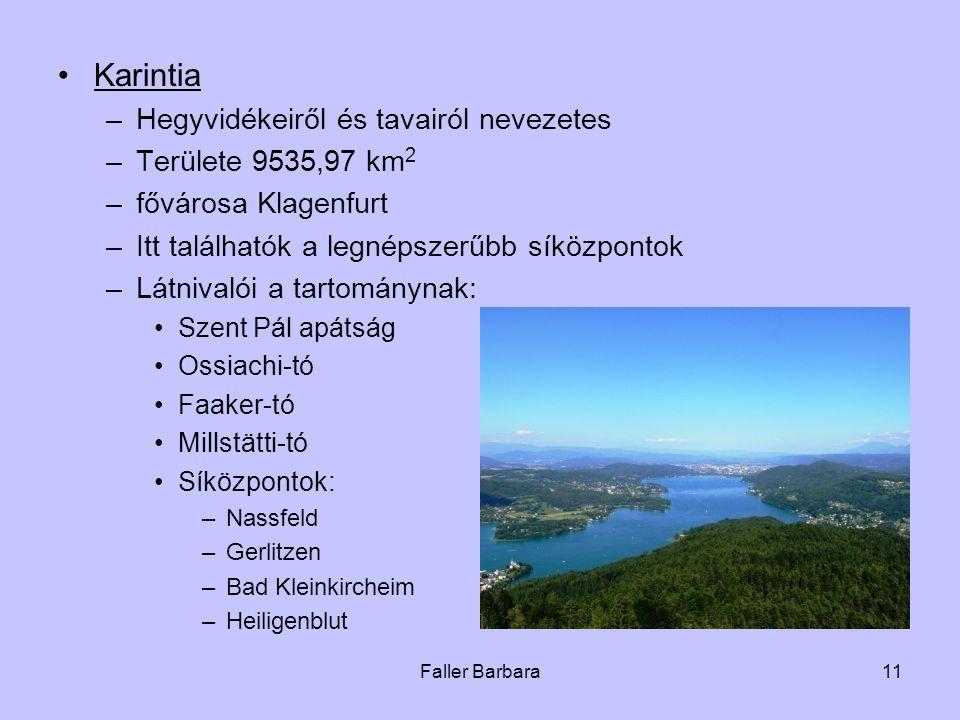 Karintia Hegyvidékeiről és tavairól nevezetes Területe 9535,97 km2