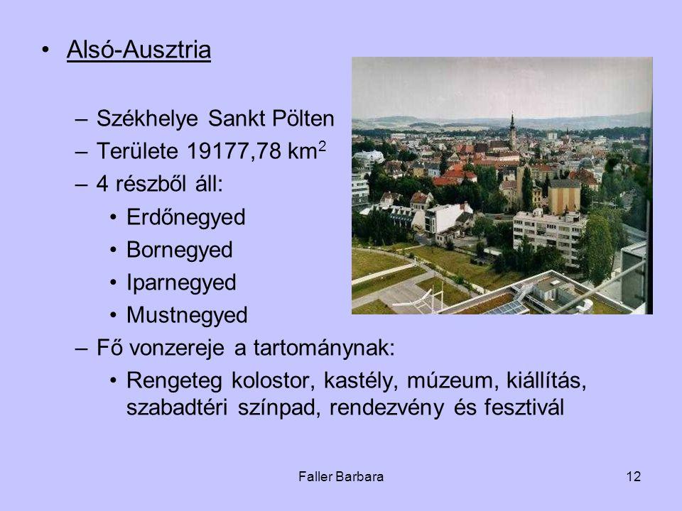 Alsó-Ausztria Székhelye Sankt Pölten Területe 19177,78 km2