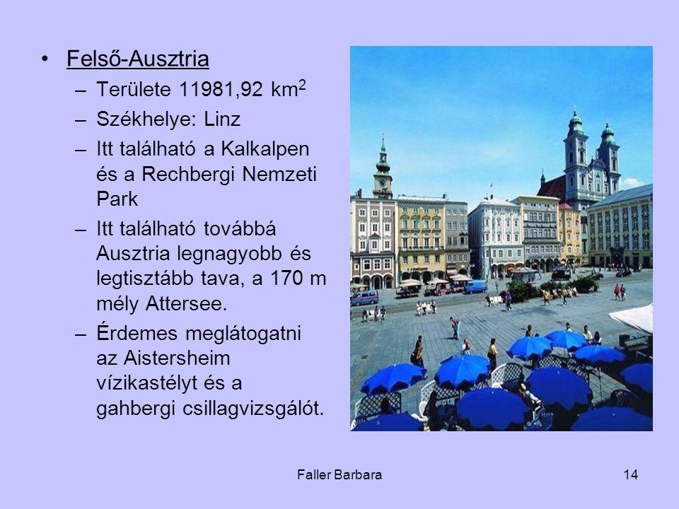 Felső-Ausztria Területe 11981,92 km2 Székhelye: Linz