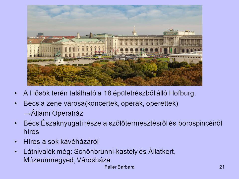 A Hősök terén található a 18 épületrészből álló Hofburg.