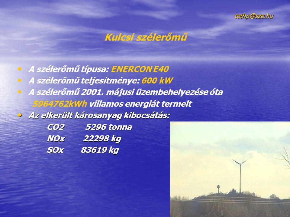 Kulcsi szélerőmű A szélerőmű típusa: ENERCON E40