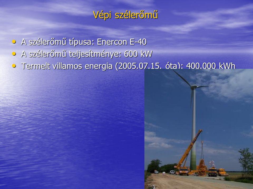 Vépi szélerőmű A szélerőmű típusa: Enercon E-40