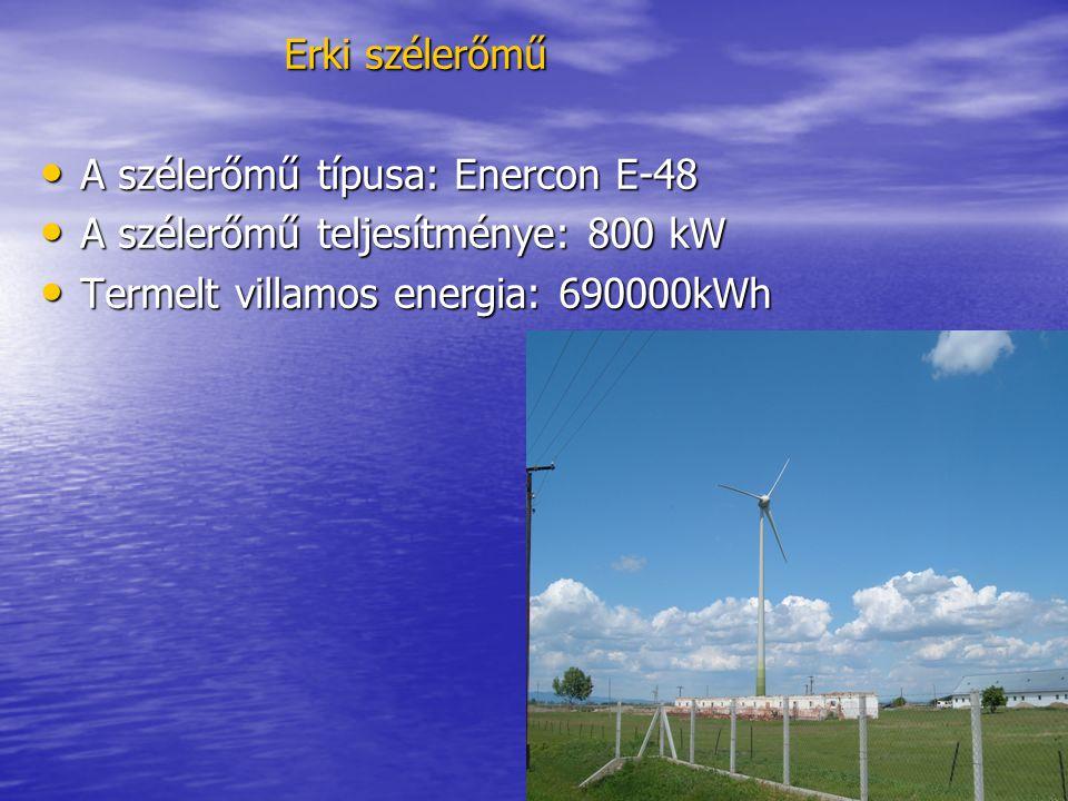 Erki szélerőmű A szélerőmű típusa: Enercon E-48. A szélerőmű teljesítménye: 800 kW.