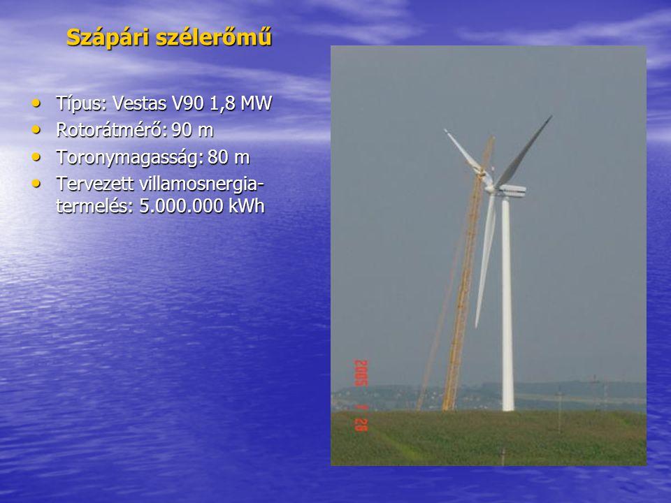 Szápári szélerőmű Típus: Vestas V90 1,8 MW Rotorátmérő: 90 m