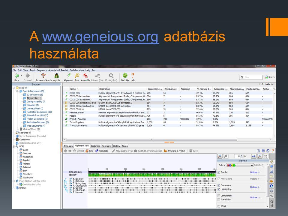 A www.geneious.org adatbázis használata