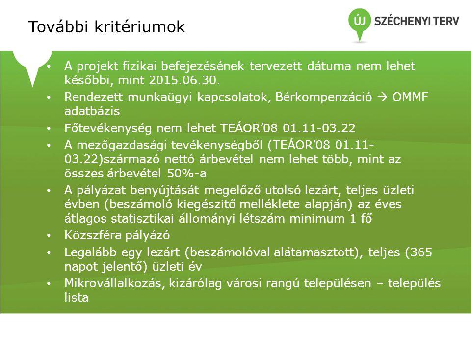 További kritériumok A projekt fizikai befejezésének tervezett dátuma nem lehet későbbi, mint 2015.06.30.