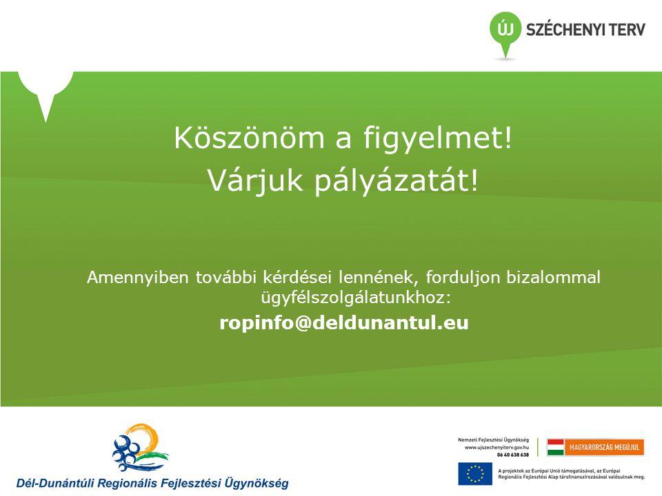 Köszönöm a figyelmet! Várjuk pályázatát! ropinfo@deldunantul.eu