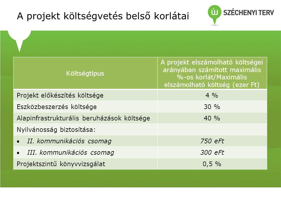 A projekt költségvetés belső korlátai