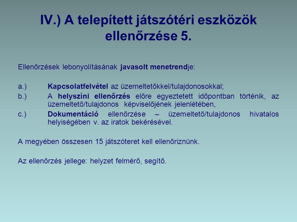 IV.) A telepített játszótéri eszközök ellenőrzése 5.