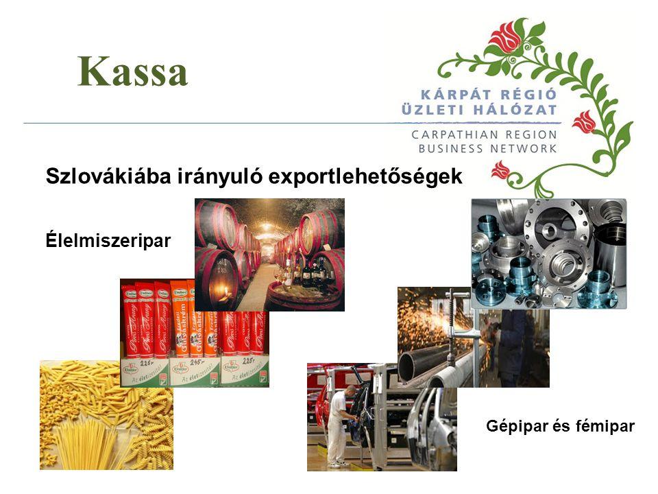 Kassa Szlovákiába irányuló exportlehetőségek Élelmiszeripar