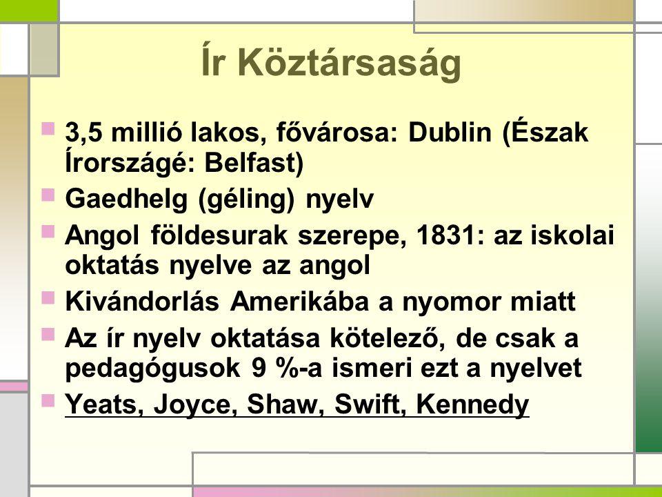 Ír Köztársaság 3,5 millió lakos, fővárosa: Dublin (Észak Írországé: Belfast) Gaedhelg (géling) nyelv.