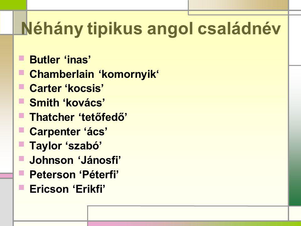 Néhány tipikus angol családnév
