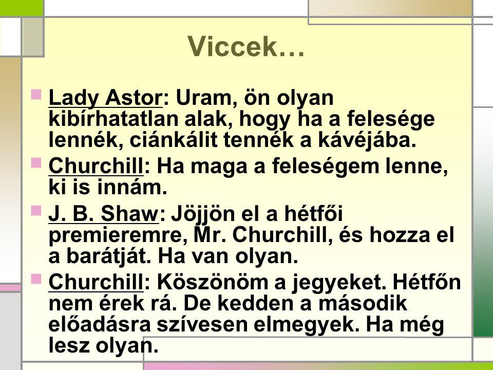 Viccek… Lady Astor: Uram, ön olyan kibírhatatlan alak, hogy ha a felesége lennék, ciánkálit tennék a kávéjába.