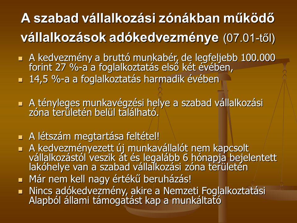 A szabad vállalkozási zónákban működő vállalkozások adókedvezménye (07