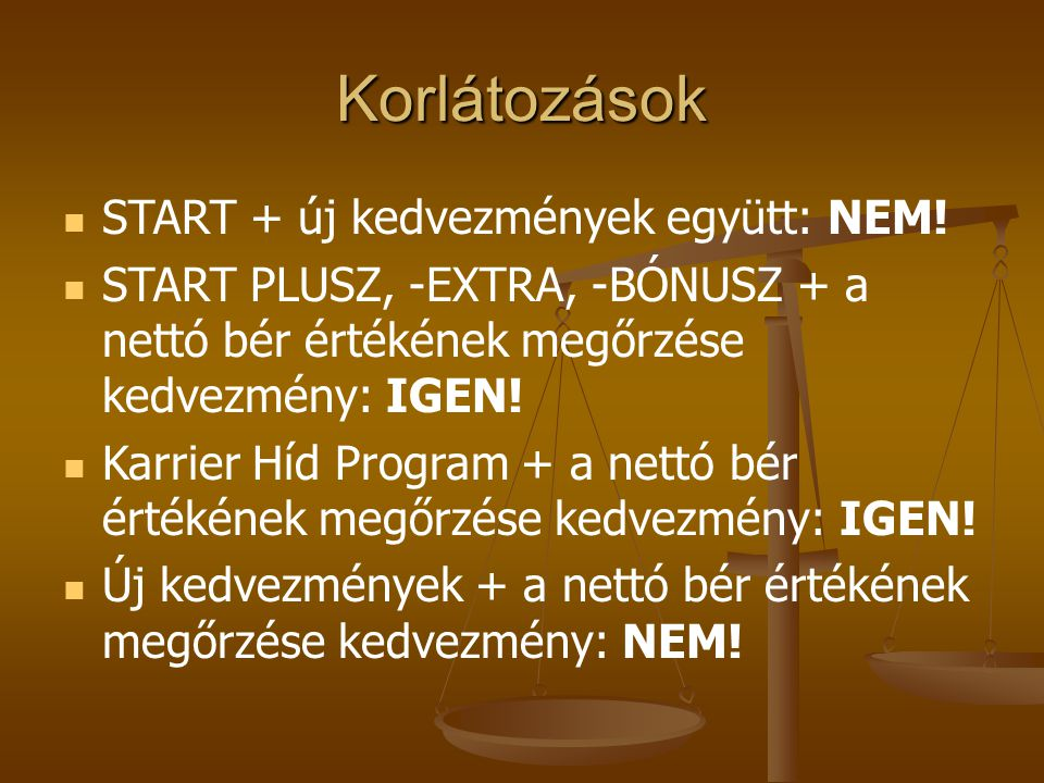 Korlátozások START + új kedvezmények együtt: NEM!