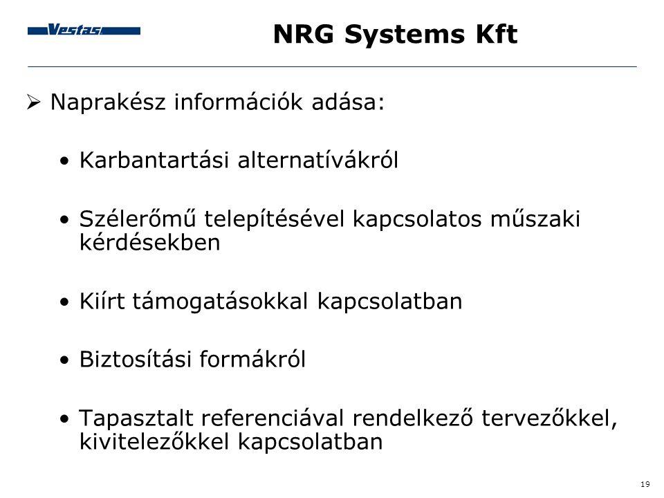 NRG Systems Kft Naprakész információk adása: