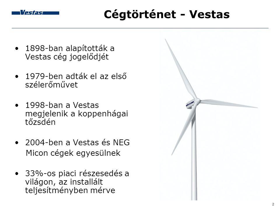 Cégtörténet - Vestas 1898-ban alapították a Vestas cég jogelődjét