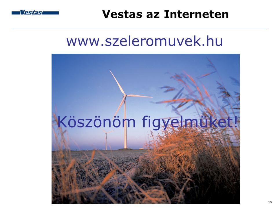 Vestas az Interneten www.szeleromuvek.hu Köszönöm figyelmüket!