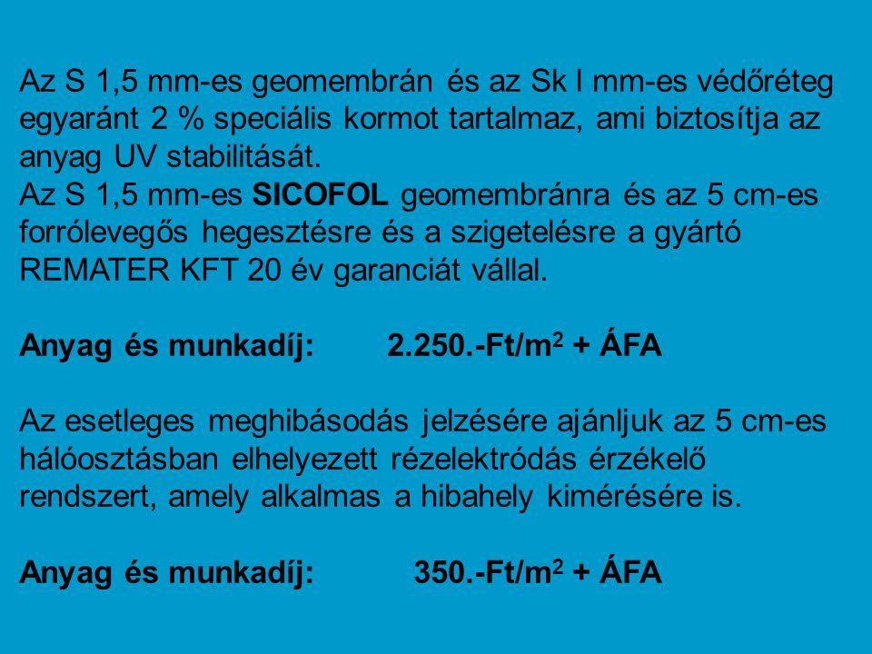 Az S 1,5 mm-es geomembrán és az Sk l mm-es védőréteg egyaránt 2 % speciális kormot tartalmaz, ami biztosítja az anyag UV stabilitását. Az S 1,5 mm-es SICOFOL geomembránra és az 5 cm-es forrólevegős hegesztésre és a szigetelésre a gyártó REMATER KFT 20 év garanciát vállal.
