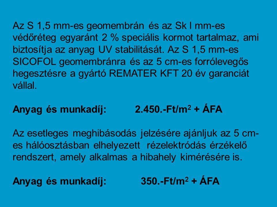 Az S 1,5 mm-es geomembrán és az Sk l mm-es védőréteg egyaránt 2 % speciális kormot tartalmaz, ami biztosítja az anyag UV stabilitását. Az S 1,5 mm-es SICOFOL geomembránra és az 5 cm-es forrólevegős hegesztésre a gyártó REMATER KFT 20 év garanciát vállal.