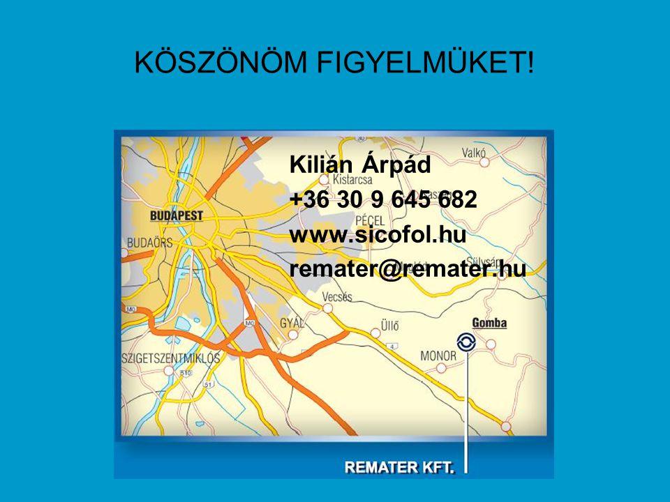 KÖSZÖNÖM FIGYELMÜKET! Kilián Árpád +36 30 9 645 682 www.sicofol.hu