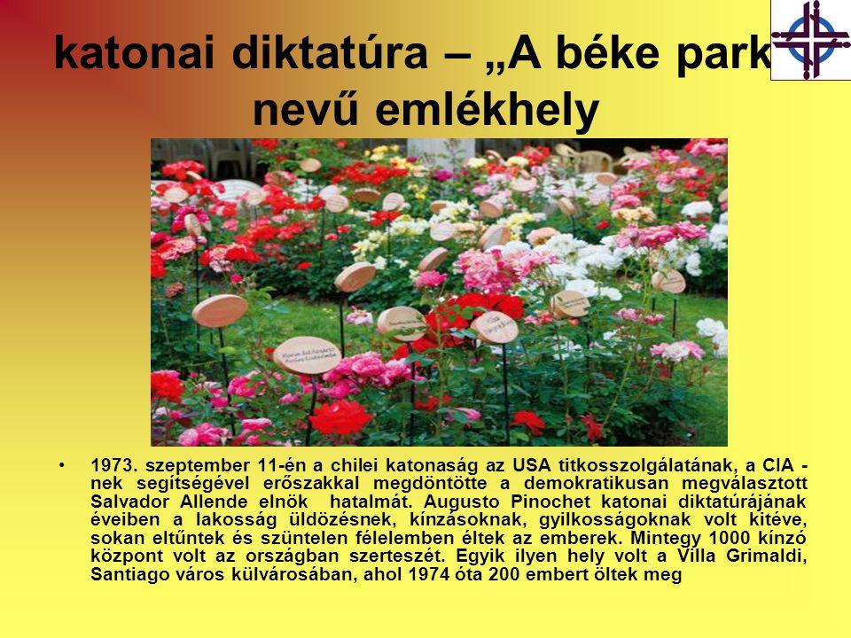 """katonai diktatúra – """"A béke park nevű emlékhely"""