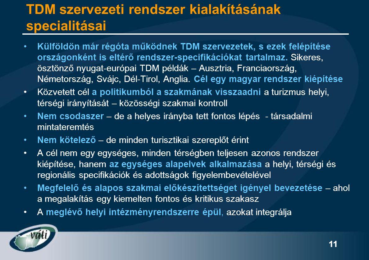 TDM szervezeti rendszer kialakításának specialitásai