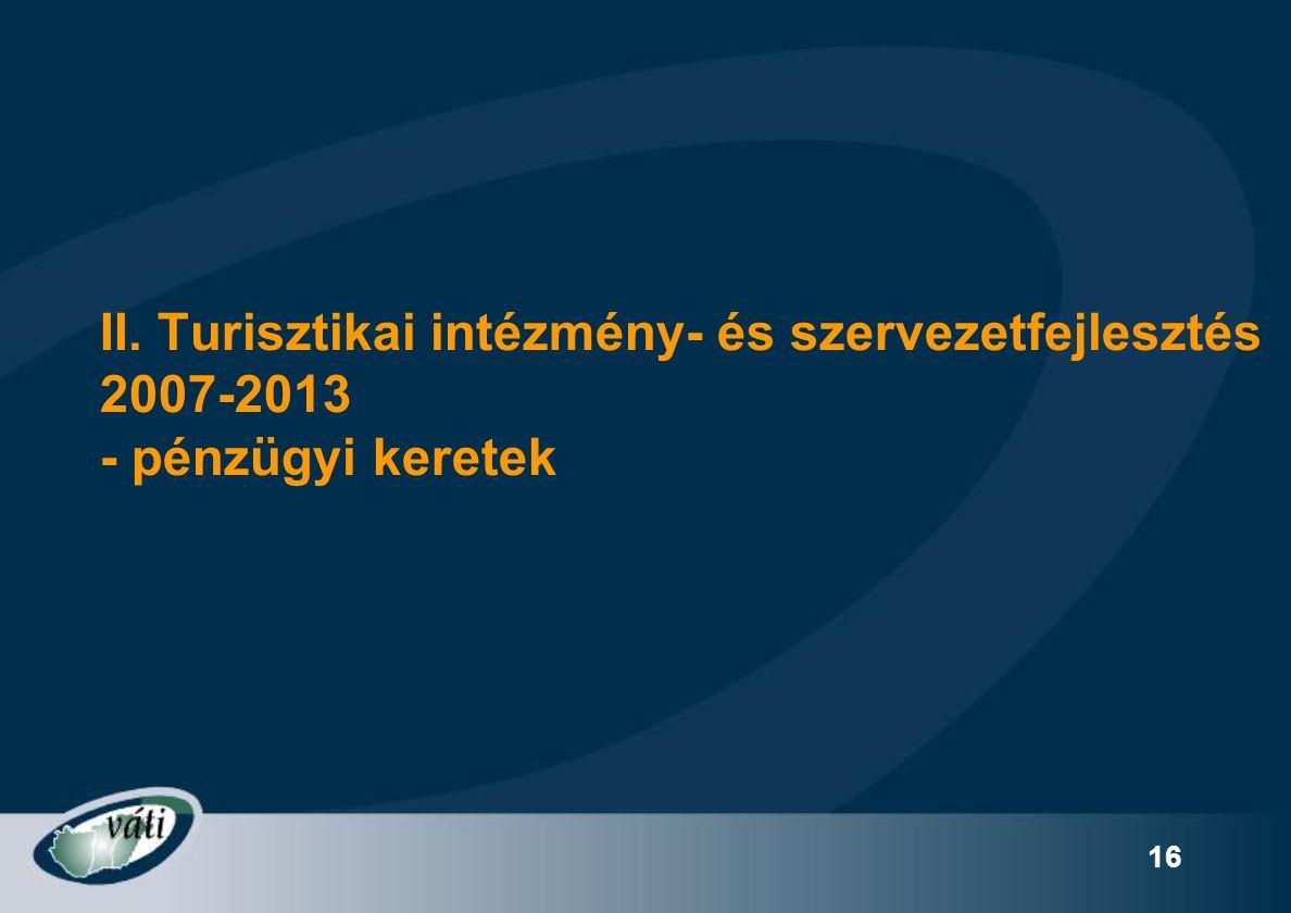 II. Turisztikai intézmény- és szervezetfejlesztés 2007-2013 - pénzügyi keretek