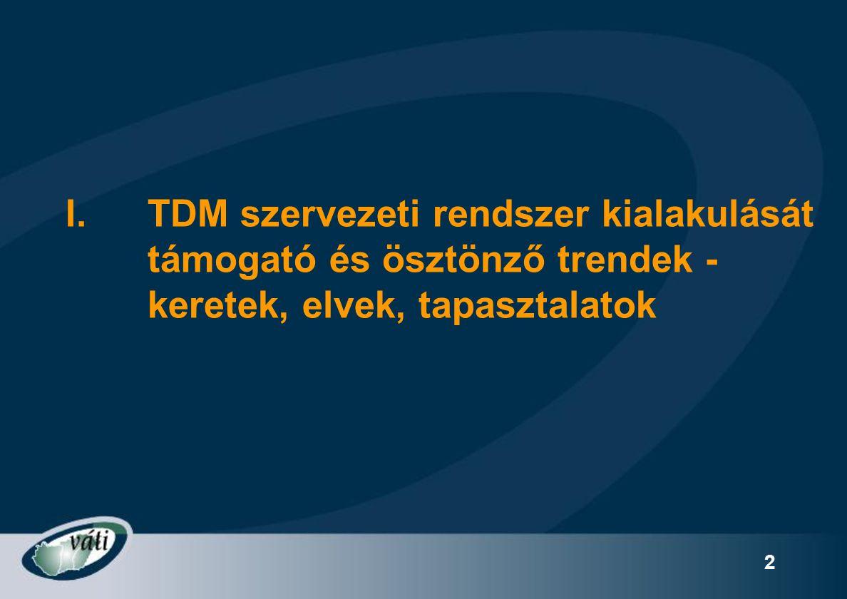 TDM szervezeti rendszer kialakulását támogató és ösztönző trendek - keretek, elvek, tapasztalatok