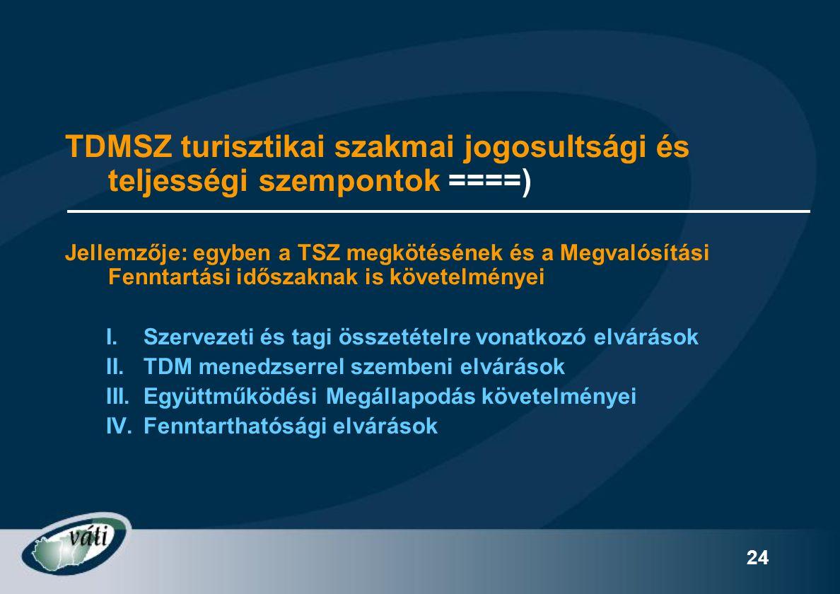 TDMSZ turisztikai szakmai jogosultsági és teljességi szempontok ====)