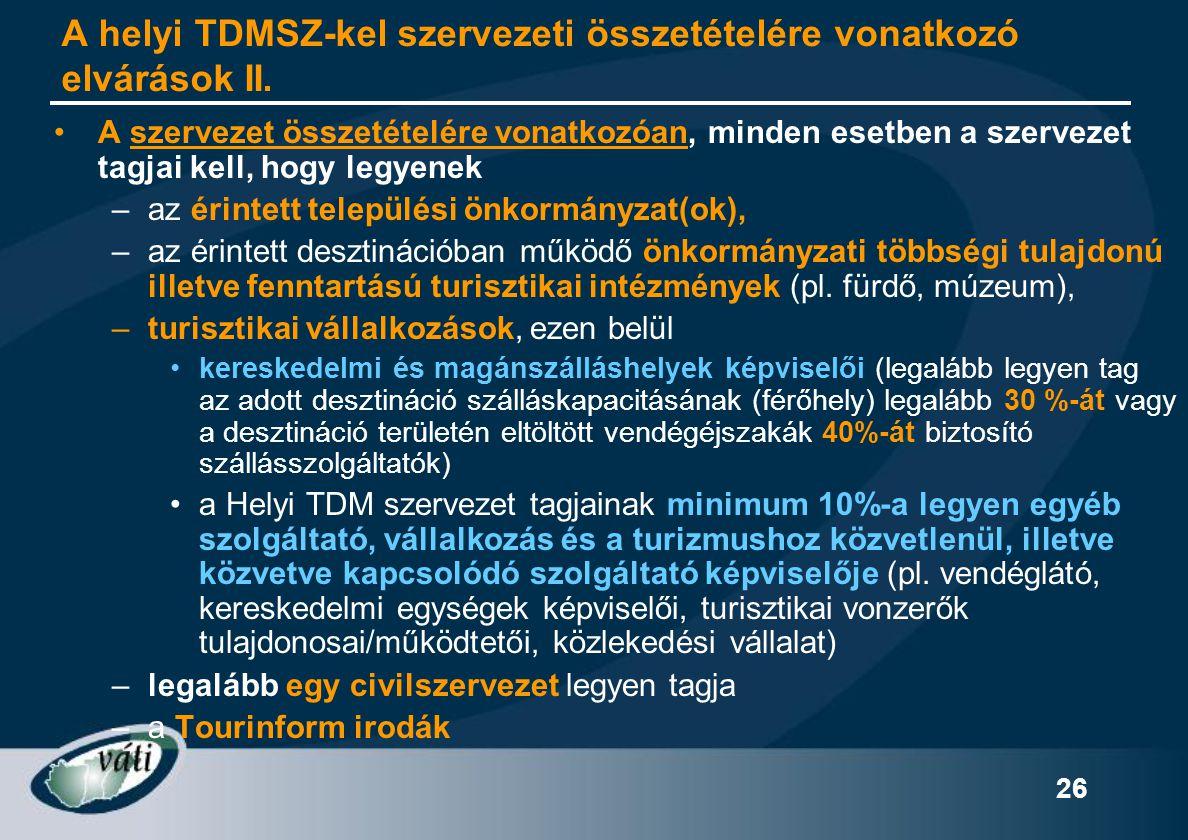 A helyi TDMSZ-kel szervezeti összetételére vonatkozó elvárások II.