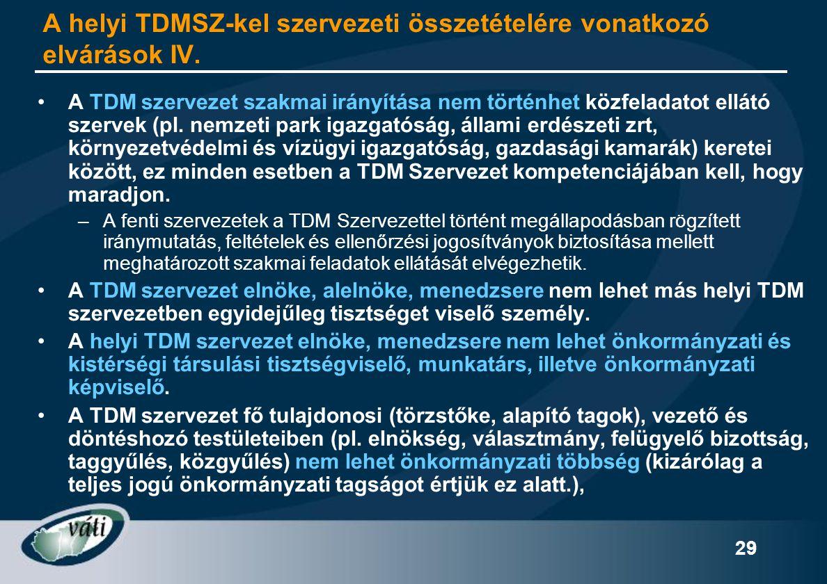 A helyi TDMSZ-kel szervezeti összetételére vonatkozó elvárások IV.
