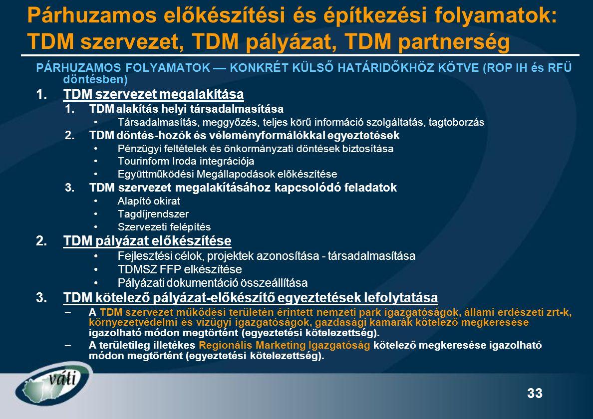 Párhuzamos előkészítési és építkezési folyamatok: TDM szervezet, TDM pályázat, TDM partnerség