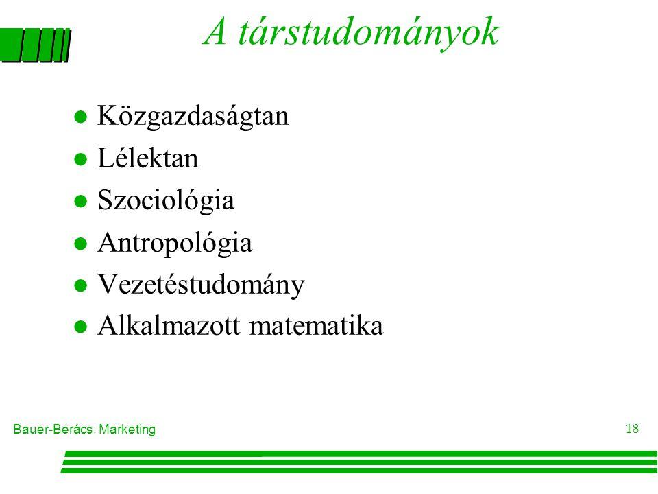 A társtudományok Közgazdaságtan Lélektan Szociológia Antropológia