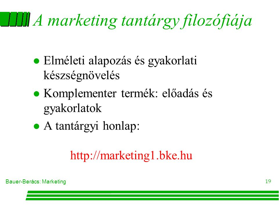 A marketing tantárgy filozófiája