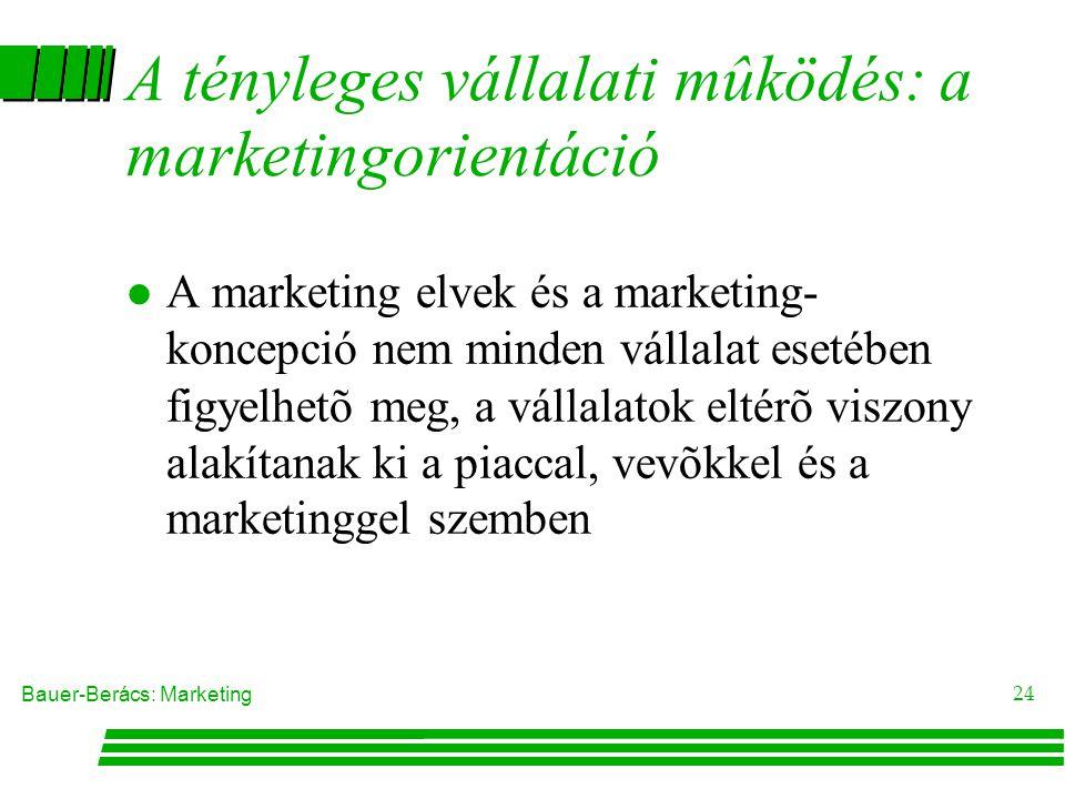 A tényleges vállalati mûködés: a marketingorientáció