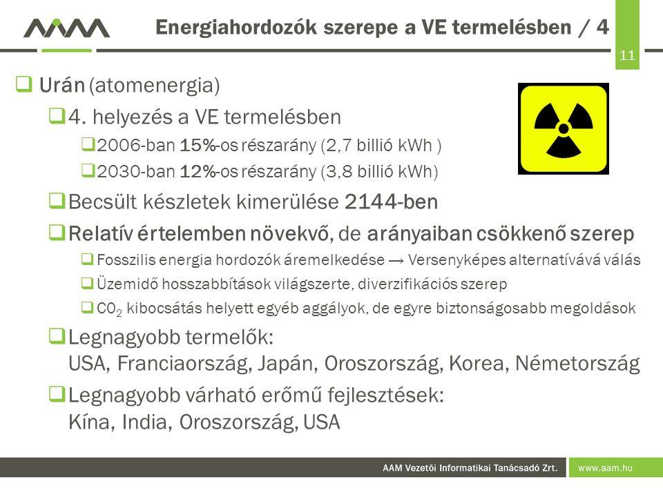 Energiahordozók szerepe a VE termelésben / 4