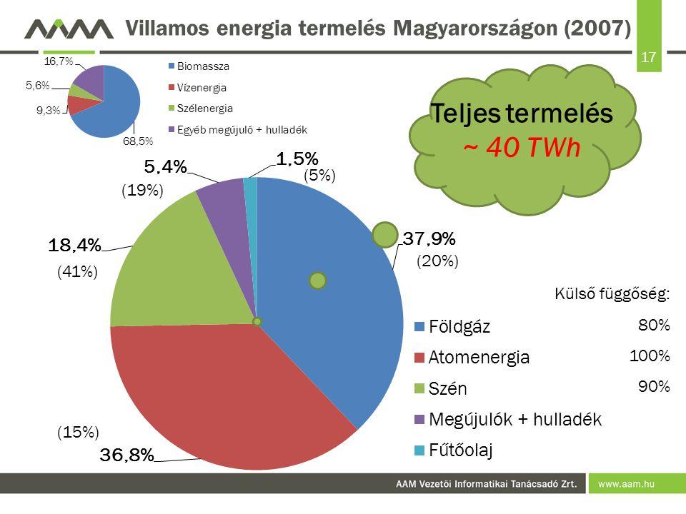 Villamos energia termelés Magyarországon (2007)