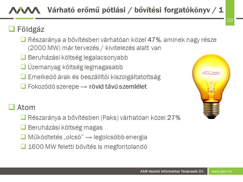 Várható erőmű pótlási / bővítési forgatókönyv / 1