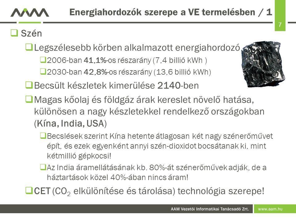 Energiahordozók szerepe a VE termelésben / 1