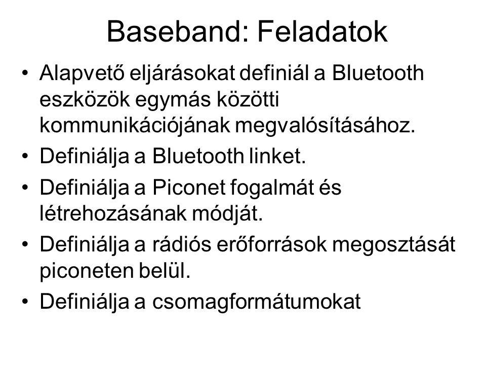 Baseband: Feladatok Alapvető eljárásokat definiál a Bluetooth eszközök egymás közötti kommunikációjának megvalósításához.