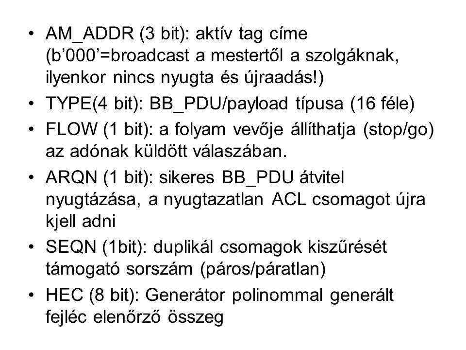 AM_ADDR (3 bit): aktív tag címe (b'000'=broadcast a mestertől a szolgáknak, ilyenkor nincs nyugta és újraadás!)