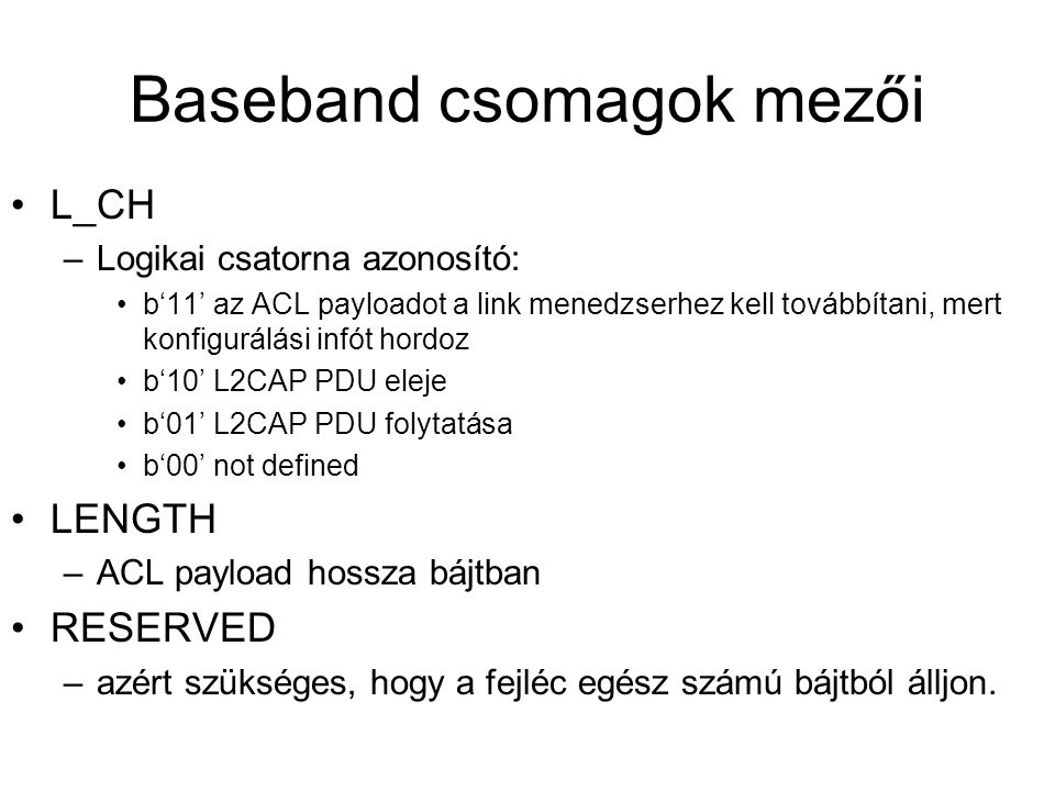 Baseband csomagok mezői